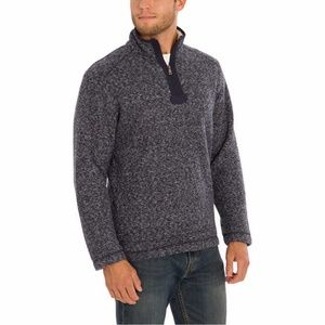 ORVIS Men Brighton Sherpa Zip Pullover Shirt Navy